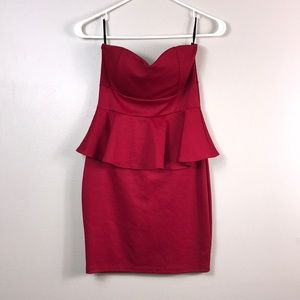 Strapless red peplum bodycon dress size small